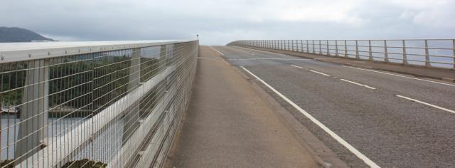 21 on the bridge, Ruth crossing Skye Bridge, coastal walk