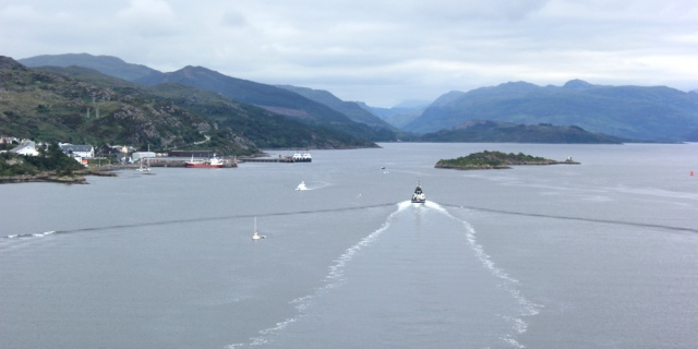 24 ship through Kyle Akin, Ruth crossing Skye Bridge, coastal walk