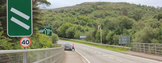 26 parked car, Ruth crossing Skye Bridge, coastal walk