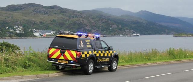 28 coastguard car, Ruth crossing Skye Bridge, coastal walk