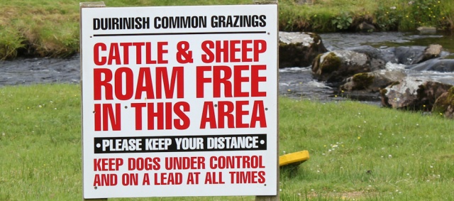 29 Duirinish common grazings, warning sign, Ruth's coastal walk