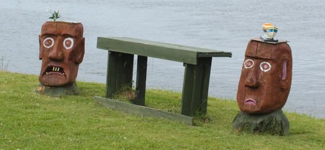 31 RNLI bench, Ruth crossing Skye Bridge, coastal walk