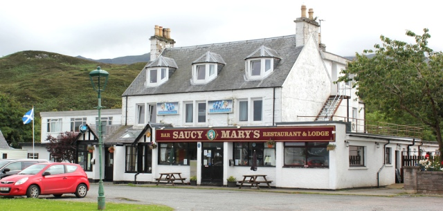 32 Saucy Mary's, Ruth crossing Skye Bridge, coastal walk