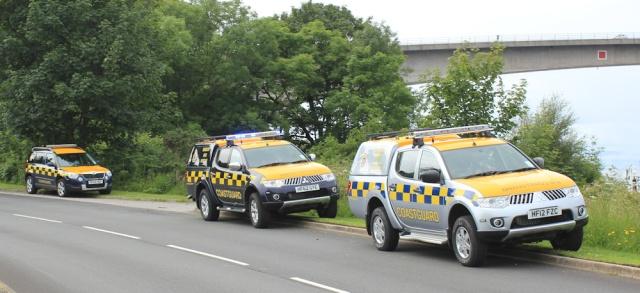 35 three coastguard cars, Ruth crossing Skye Bridge, coastal walk