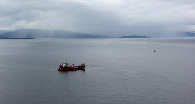 37 rain clouds, Ruth crossing Skye Bridge, coastal walk