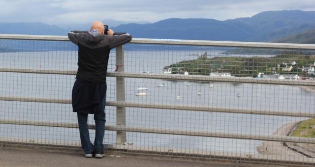 38 male photographer, Ruth crossing Skye Bridge, coastal walk