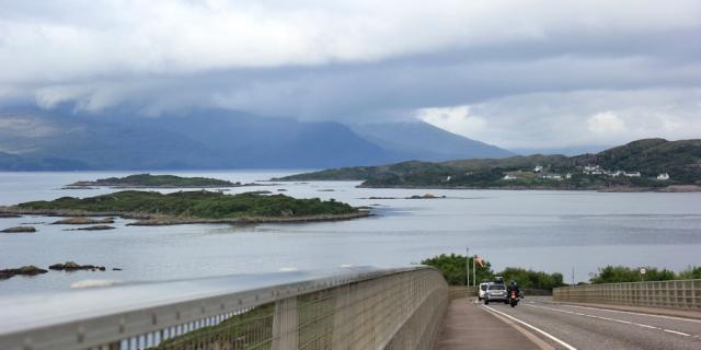 39 stormy skies, Ruth crossing Skye Bridge, coastal walk