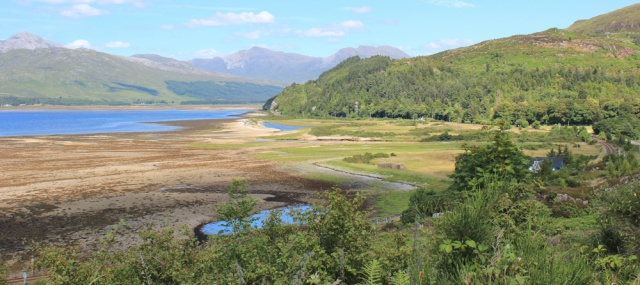 54 mouth of the River Attadale, Ruth walking the shore of Loch Carron