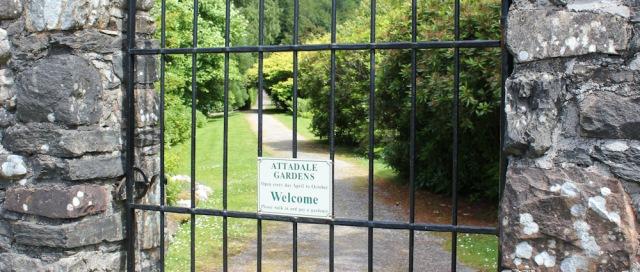 56 Attadale Gardens gate, Ruth walking the shore of Loch Carron