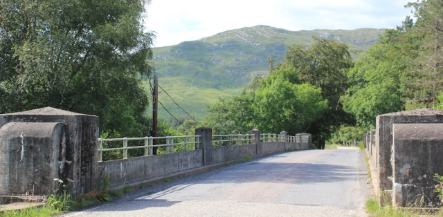 69 River Carron bridge, Ruth walking the shore of Loch Carron