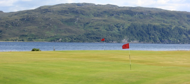 78 golf course, Ruth walking the shore of Loch Carron