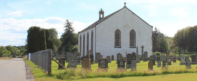 79 church and graveyard, Ruth walking the shore of Loch Carron