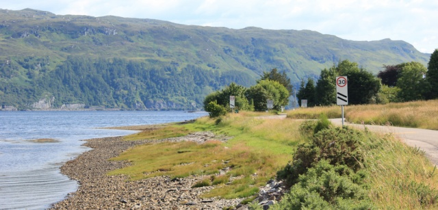82 approaching Lochcarron and speed signs, Ruth's coastal walk