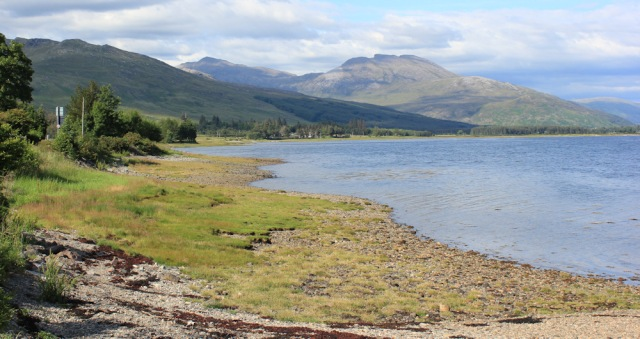 83 view up Loch Carron from the shore, Ruth hiking around the coast of Scotland