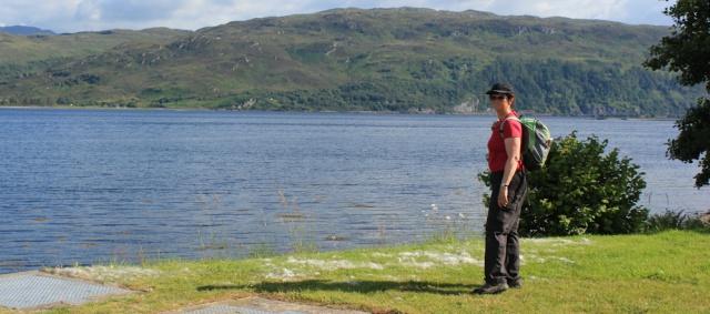 84 self-portrait, Ruth hiking to Lochcarron, walking the coast of Scotland