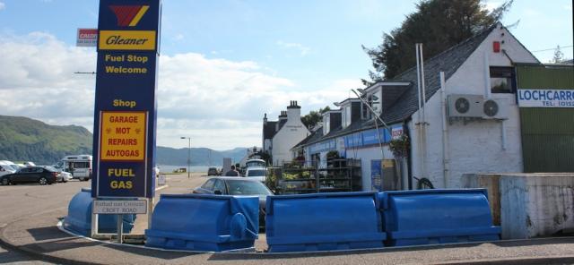 88 Lochcarron garage, Ruth walking around the coast of Scotland