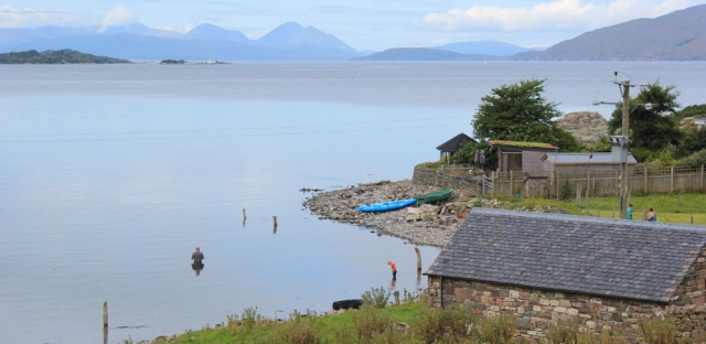 03 view over to Plockton lighthouse and Skye mountains, from Ardaneaskan, Ruth's coastal walk around Scotland