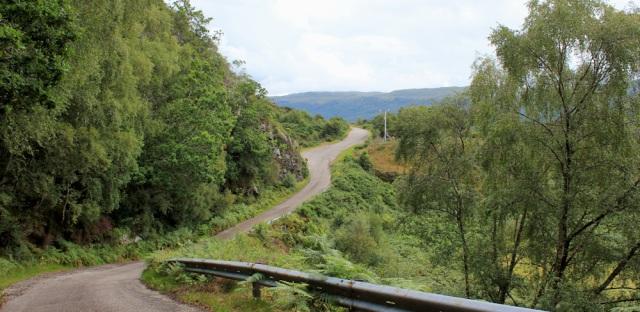 09 road winds from Ardaneaskan to Loch Carron, Loch Carron, Ruth's coastal walk around Scotland