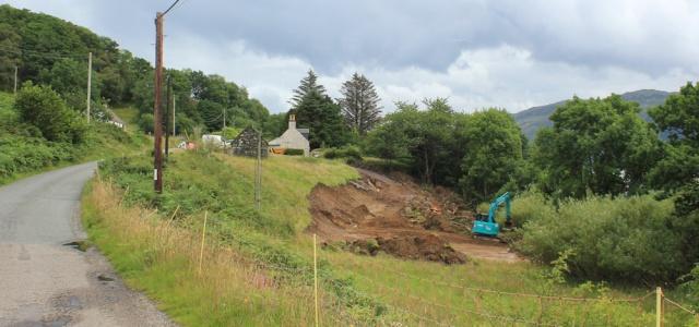 11 excavations on road near Stromemore, Loch Carron, Ruth's coastal walk around Scotland