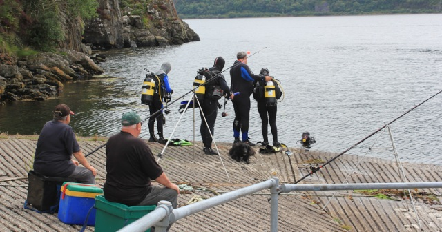 14 fishers and scubadivers, Strome Castle, Loch Carron, Ruth's coastal walk around Scotland