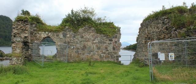 19 scaffolding Strome Castle, Loch Carron, Ruth's coastal walk around Scotland