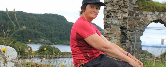 22 lunchtime self-portrait, Strome Castle, Loch Carron, Ruth's coastal walk around Scotland