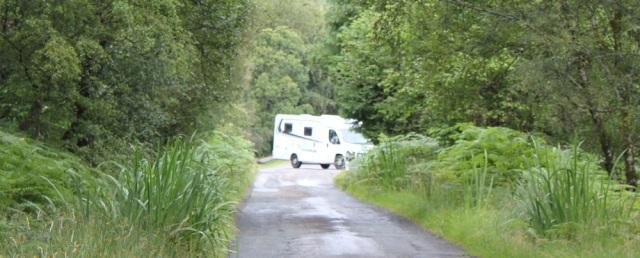 25 motorhomes on narrow roads, Loch Carron, Ruth's coastal walk around Scotland