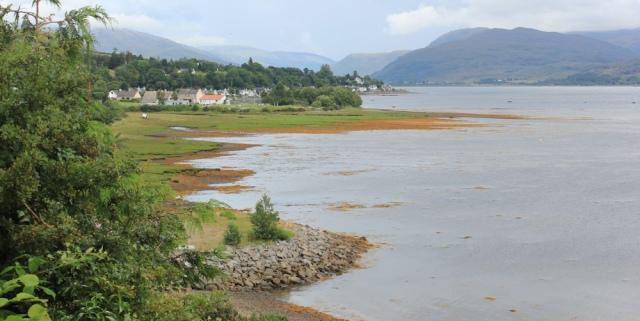 34 Lochcarron village ahead, Ruth walking from Ardaneaskan around the Scottish coast
