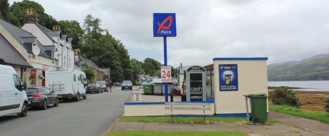 43 automated fuel station, Spar, cashpoint, Lochcarron, Ruth's coastal walk around the UK, Scotland