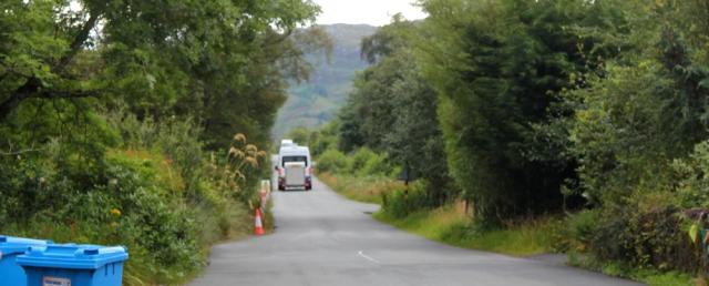 01 bus dropping off at Kishorn, Ruth's coastal walk Scottish Highlands