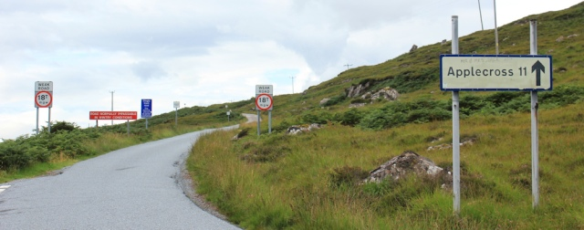 10 turnoff to the fish farm and dock, Applecross Pass, Ruth's coastal walk Scottish Highlands