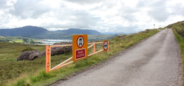 17 passing the road-closed barriers, Applecross Pass, Ruth's coastal walk Scottish Highlands