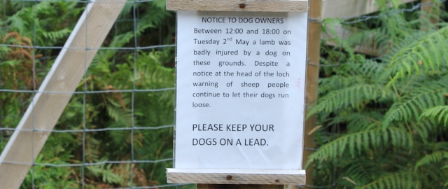 22b notice to dog owners, Reraig, Ruth hiking around the coast, Scottish Highlands