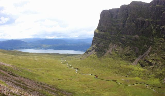 24 view down the Allt a Chumhaing river, Applecross Pass, Ruth's coastal walk Scottish Highlands