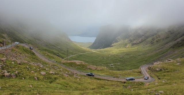 26 traffic snaking up the hairpin bends, Applecross Pass, Ruth's coastal walk Scottish Highlands