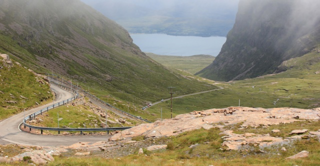 28 more haipin bends, Ruth's coastal walk up the Applecross Pass, Scottish Highlands