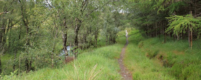 28 walking beside a stream, Wester Ross, Ruth hiking around the coast, Scottish Highlands
