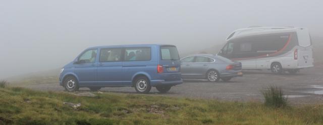 32 foggy carpark, Bealach na Ba, Ruth's coastal walk Scottish Highlands