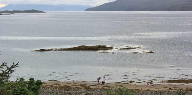 45 children playing on the beach, Loch Kishorn, Ruth hiking around the coast of the Scottish Highland