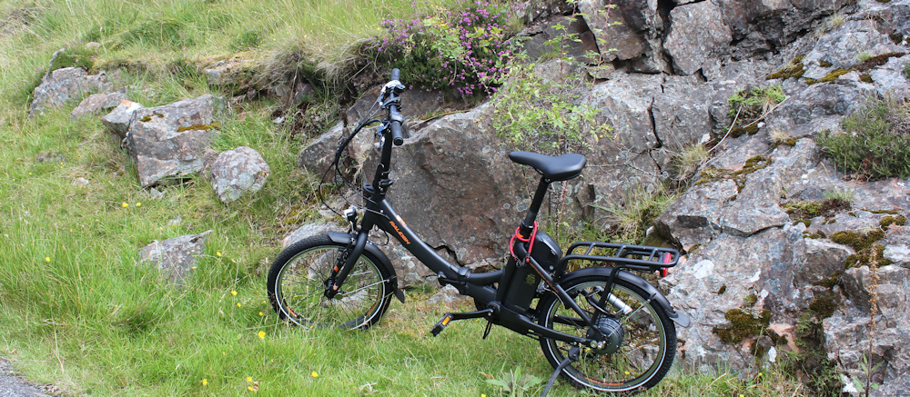 01 Scooty bike by side of road, Ruth's coastal walk, Applecross Peninsula