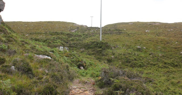 11 following poles up out of Toscaig, Ruth's coastal walk, Applecross Peninsula