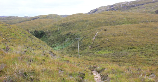 14 path following telegraph poles to Airigh-Drishaig, Ruth's coastal walk, Applecross Peninsula