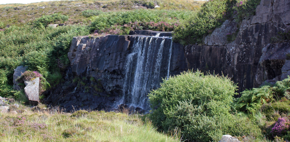 14 waterfall on road to Cuaig, Ruth walking up the coast of Applecross, Scotland
