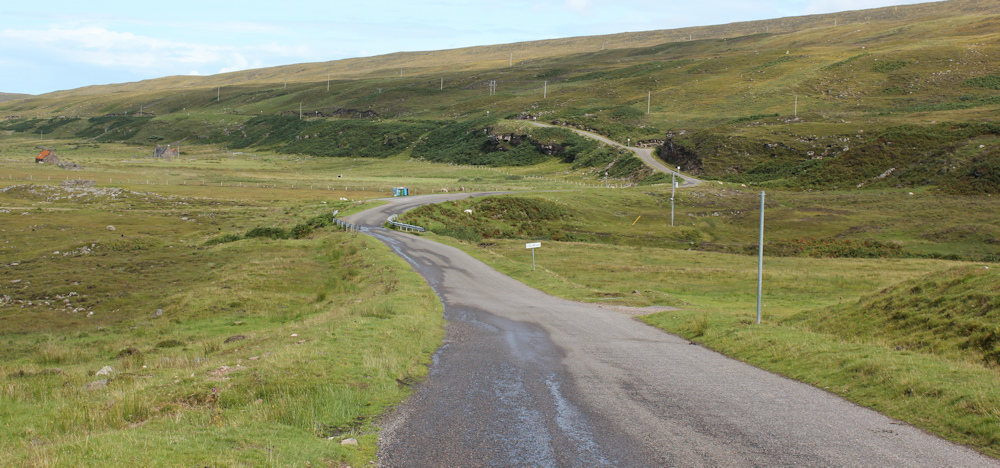 21 long and winding road, to Cuaig, Ruth walking up the coast of Applecross, Scotland
