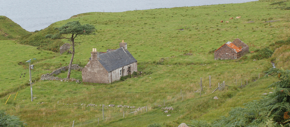 23 in need of renovation, Ruth walking up the coast of Applecross, Scotland