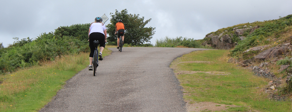 32 cyclists on the hill, Ruth walking the coast of Scotland, Applecross