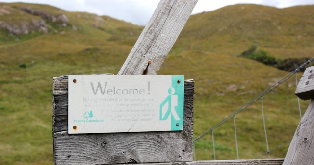 32 welcome sign on stile, to Airigh-Drishaig, Ruth's coastal walk, Applecross Peninsula