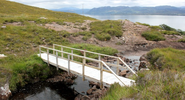 33 footbridge over stream, to Airigh-Drishaig, Ruth's coastal walk, Applecross Peninsula