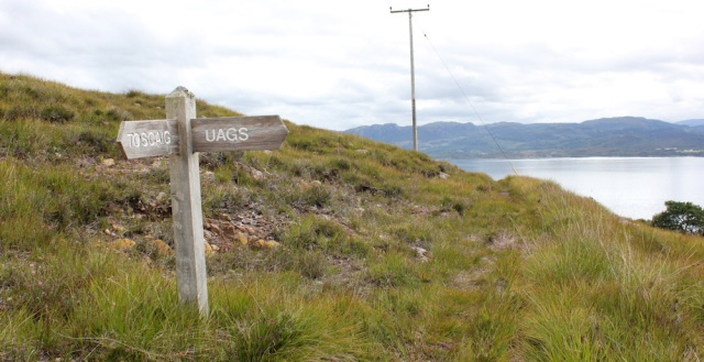 35 Signpost to Uags, at Airigh-Drishaig, Ruth's coastal walk, Applecross Peninsula