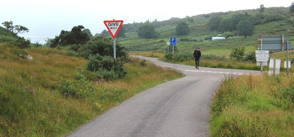 38 shopper looking for milk, Ruth walking the coast of Scotland, Applecross